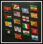 Flag badges, country pins